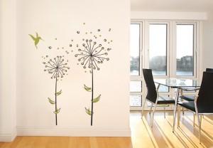 autocollant de fleurs sur un mur